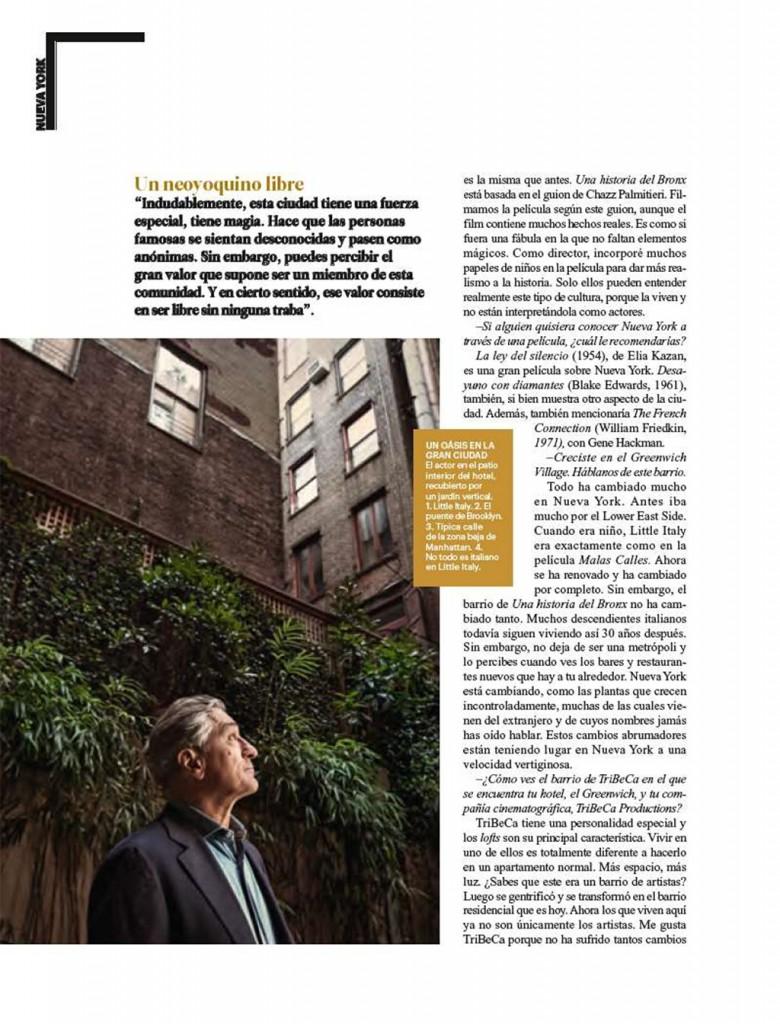 Condé Nast Traveler interviews Robert De Niro about The Greenwich Hotel
